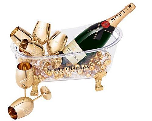 Moët & Chandon Champagner 'So Bubbly' Badewanne mit Beleuchtung Night Bath Bucket mit 6 Gold-Gläsern, Goldkugeln und einer Flasche Jeroboam in Holzkiste Limited Edition Geschenk Set (1 x 3.0 l)