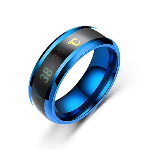 Anello di visualizzazione di misurazione della temperatura intelligente di moda anello di coppia di gioielli creativo semplice matrimonio size 19mm (Blue)