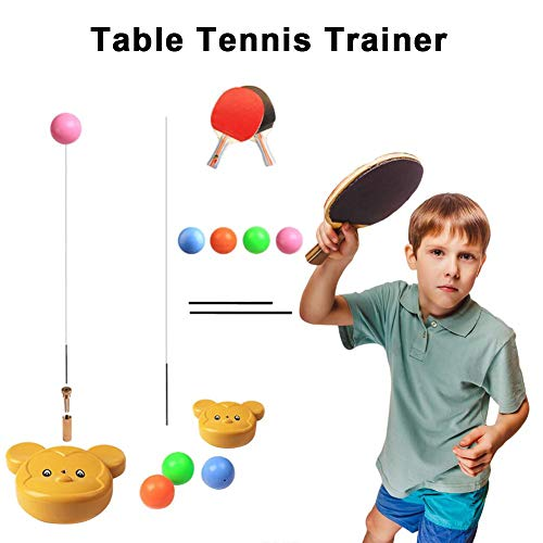 Sale!! headytidy Table Tennis Trainer Elastic Shaft,Portable Table Tennis Set with 2Racket & 4 Pract...