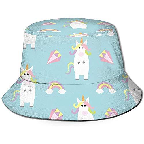 Sombrero de Cubo Unisex Cara de Unicornio Diamante de Arco Iris Impreso Sombrero de Sol al Aire Libre Gorra de Viaje de Verano al Aire Libre