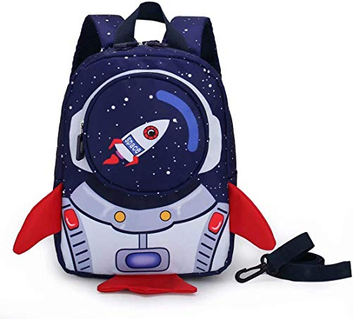 Mochila para niños y niñas con arnés de correa, mochila para niños con forma de cohete para guardería, preescolar, mochila impermeable para bebé (para 1-3 años) (azul oscuro)