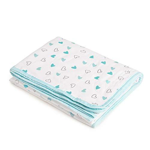 The White Cradle aus Bio-Baumwolle weichste Babydecke für Kinderbett/Bett, mit 3 weichen Stofflagen, umkehrbare Designs, 2 Seiten bedruckter Musselin, Flanell in der Mitte, 95 x 120 cm - Blue Hearts