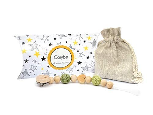 Carybe | Schnullerkette aus Holz - mit Bienenwachs behandelt - Häkelperlen - Junge und Mädchen - ein tolles Geschenk (Grün)