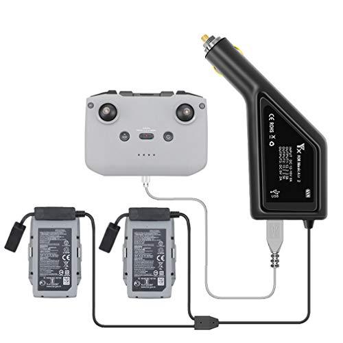 DJFEI Auto Ladegerät Adapter für DJI Mavic Air 2 Drone, 3 in1 KFZ Autoladegerät Intelligentes Ladegerät Hub für DJI Mavic Air 2 Drone, für 2 Batterien und Fernbedienung