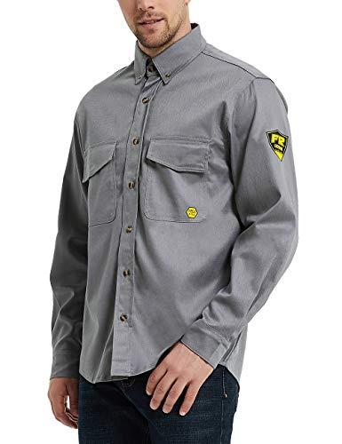 PTAHDUS 7.5oz Men's Flame Resistant Button Down Shirt, Men Lightweight Twill FR Work Shirt Ideal for Welding and Oil Worker (Grey, Medium)
