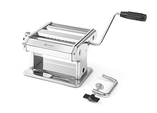HENDI Pastamaschine, Manuell, für die Zubereitung von frischer pasta, Teigroller, Tagliatelle, Fettucine, Breite des Teigs bis zu 140mm, 7 stufig einstellbar 0,2-2,5mm, 440x382x(H)340mm, Edelstahl