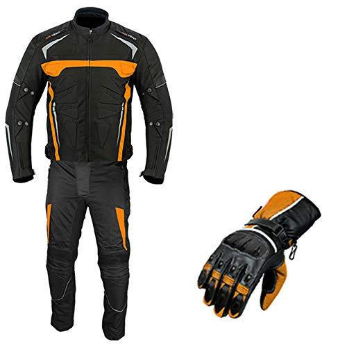 Traje de moto - Guantes de motocicleta blindados 2 piezas traje moto impermeable chaqueta con pantalones CE Armor para todos los climas para hombre