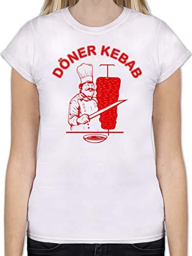 Statement Shirts - Original Döner Kebab Logo - M - Weiß - Damen döner Shirt - L191 - Tailliertes Tshirt für Damen und Frauen T-Shirt