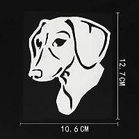 車のステッカーの装飾 10.6CMX12.7CM楽しいダックスフント犬ステッカーインテリアビニール車ステッカーブラック/シルバー (Color Name : Silver)