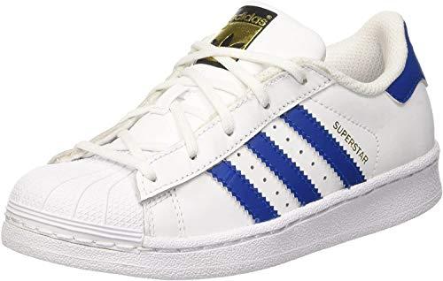 adidas Superstar Foundatio, Scarpe da Basket Unisex – Bambini, Bianco (Ftwwht/Blue/Ftwwht), 29 EU