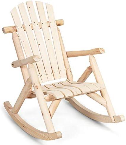 Best Giantex Log Rocking Chair Wood Porch Rocker Lounge Patio Deck Balcony Furniture Rustic Single Rocker