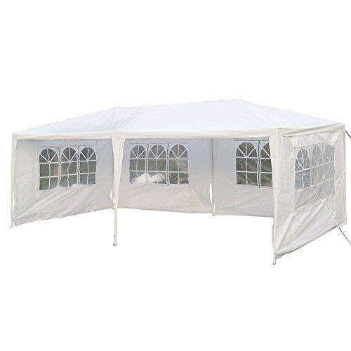 MCTECH® 6 x 3m Festzelte Gartenzelt Pavillon Bierzelt Partyzelt Festpavillon inklusive 4 Seitenwände, 4 x Fenster, Wasserdicht PE Plane Camping Vereinszelt (Weiß, 6 x 3 m mit 4 Seitenwände)