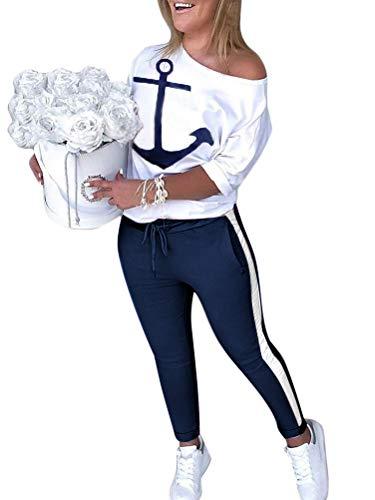 ORANDESIGNE Damen Mode 2 Stück Set Outfits Langarm Trägerlos T-Shirt +Reizvolle Bodycon Paket Hüfte Hosen Beiläufig Outfit Sport Bekleidung A Weiß 44
