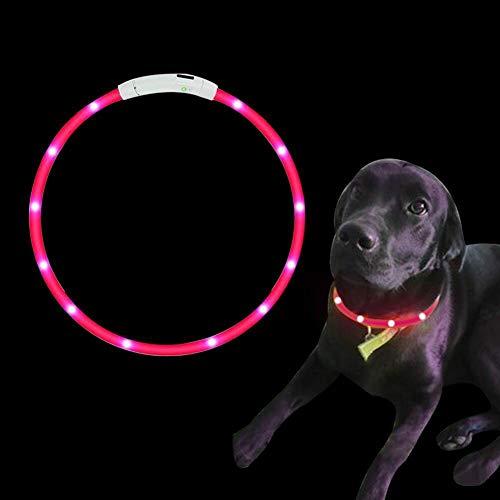SaponinTree LED Collar de Perro de Mascota, Collar de Perro de Seguridad LED Intermitente con USB Batería, 3 Modos de LED Perro Collar Brillantes y Longitud Ajustable para Perros, 75CM (Rosado)