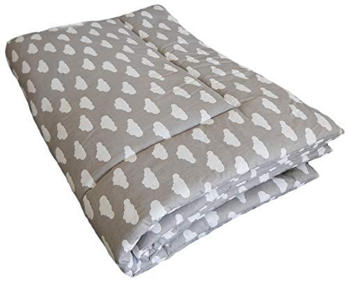 SWADDYL ® Baby Krabbeldecke Wolken Grau - Kuscheldecke, Spieldecke, Laufgittereinlage 80x120 groß gepolstert