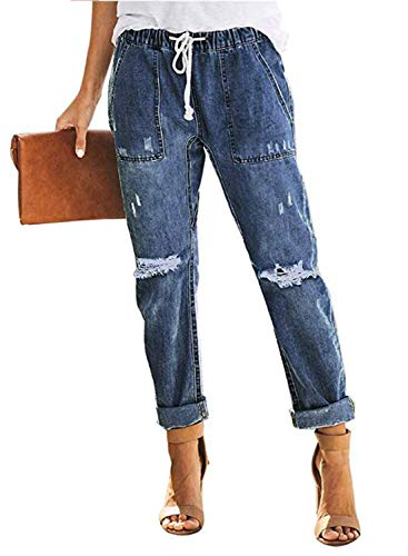 GOSOPIN Women Drawstring Elastic Waistband Loose Pants Distressed Denim Jeans X-Large Blue