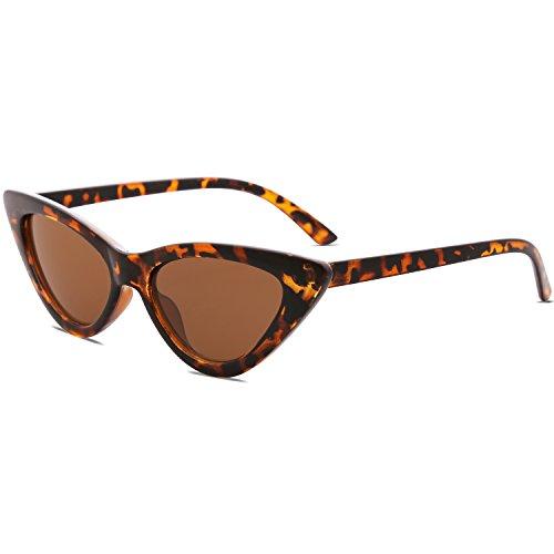 SOJOS Retro Vintage Narrow Cat Eye Sunglasses for Women Clout Goggles Plastic Frame Cardi B SJ2044 with Tortoise Frame/Brown Lens