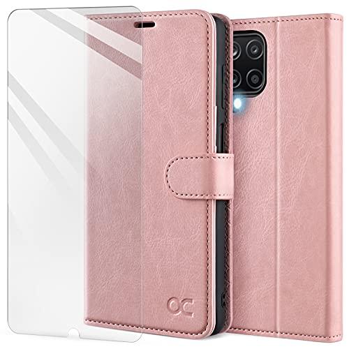 OCASE Hülle Samsung Galaxy A12/M12 Handyhülle [Gratis Panzerglas Schutzfolie] [Premium PU Leder] [Kartenfach] Flip Hülle Cover Schutzhülle Etui kompatibel mit Galaxy A12/M12 Klapphülle Pink