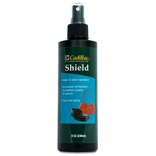 Cadillac Shield Water and Stain - Leather and Fabric Protector Spray - Great for Shoes - 8 oz - Non Aerosol - Waterproof and Protect Suede, Leather, Nubuck, Fabric, Nylon, Polyester & More