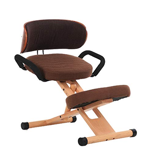 ZQTHL Ergonomic Kneeling Chair, Wooden Office Chair with Backrest and Armrests of Cotton Posture Correction Kneeling Stool Orthopedic Stool,for Office & Home