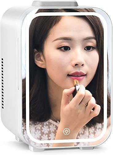 Mini frigorífico pequeño Mini nevera sin ruido 10L para Cosméticos Skincare Fridge 2 en 1 Frigorífico para acampar sin ruido 12V / 220V Maquillaje Espejo refrigerador de cuidado de la piel con luz LED