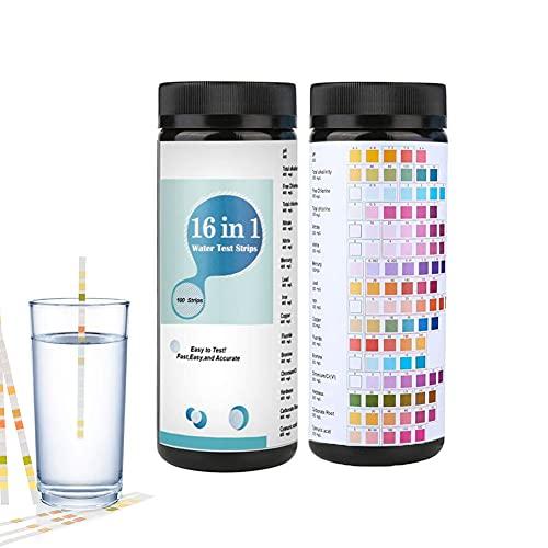 100 Tiras de Prueba de pH para Piscina, Delicacy 16 en 1 Tiras de Prueba de pH para Agua Potable, Tiras de Prueba de Piscina, para Spa Piscina Dureza Total Agua Plomo Nitrato Bromín