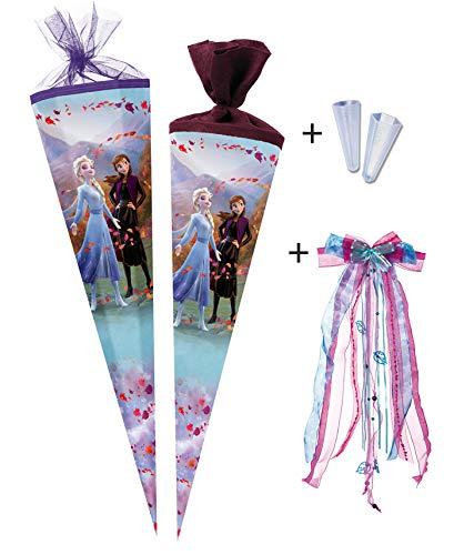 Nestler Schultüte für Mädchen - Die Eiskönigin 2 (85cm - Eckig) inkl. Schleife und Schutzspitze