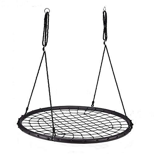 penggao Balançoire nid d'oiseau Maille Filet Suspendue 180cm à Ajustable Enfant Adulte Jardin extérieur 200 kg,100 cm de diamètre,Noir