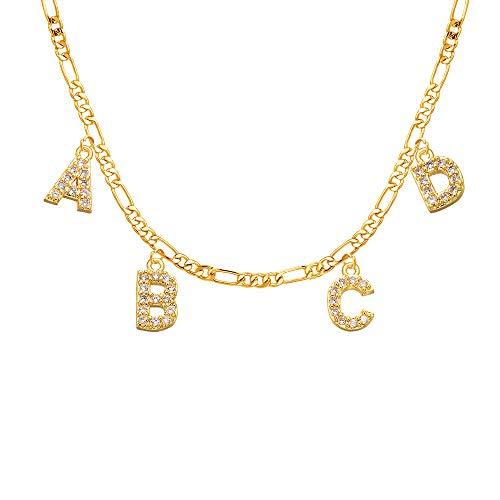 MissChic Namenskette, Diamant Namenskette,S925 Silber Personalisierte Kette,Gold Vergoldet Kette mit Name, Geschenk für Freuen, Herren, Freundin, Mutter, Schwester