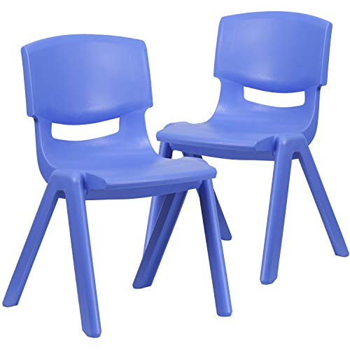 Flash Furniture 2 Pack Blue Plastic Stackable School Chair with 15.5 Seat Height