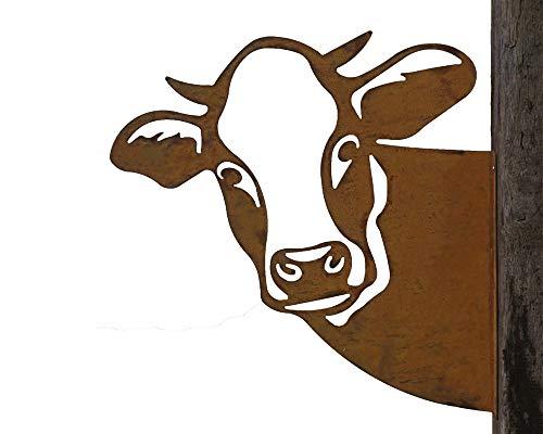 Baumstecker Metall Rost rostige Gartendeko Edelrost Kuh Kuhkopf Wanddekoration zum anschrauben