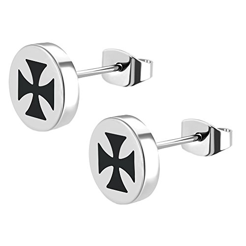 Herren Ohrstecker Eisernes Kreuz Edelstahl Silber Schwarz Biker Ohrringe Iron Cross 7mm (2 Stück)