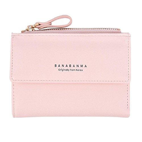 Rovinci Frauen Leder (PU) Brieftasche Kupplung Geldbörse Lady Short Handtasche Tasche (Rosa)