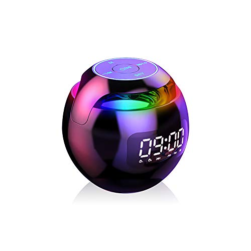 SpeedyNest Multifunctional 5W Bass Bluetooth 5.0 Wireless Speaker with Clock Alarm Colorful LED Display FM Radio, TF Card Play, Mini Portable Rechargeable Ball Shape Outdoor (Black)