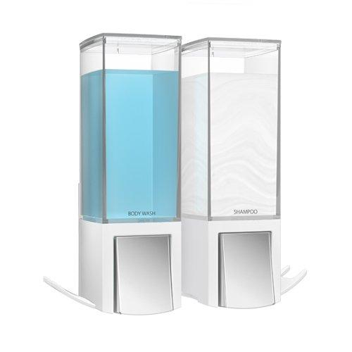 BETEC 77254 Seifenspender Clever II weiß mit 2 Kammern Wandmontage Soap Dispenser