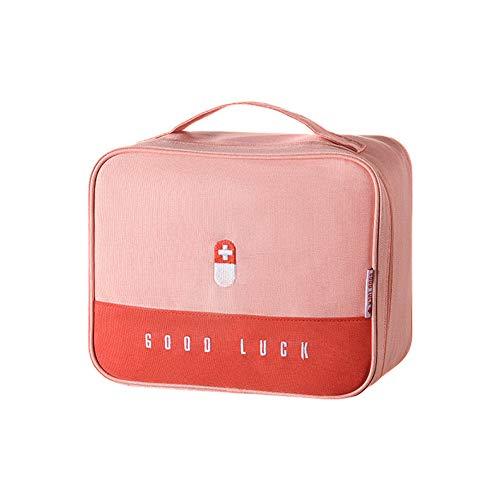 Erste Hilfe Set Erste-Hilfe-Koffer Kompakt First Aid Kit Bag Notfalltasche Medizinisch Tasche Klein Wasserdicht Tragbar für Haus Auto Camping Jagd Reisen Natur und Sport-9.8x7.9x5.3Zoll (Rosa-L)