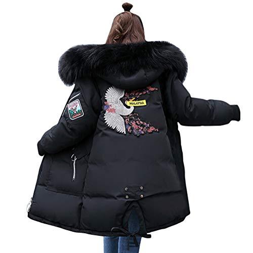 Minetom Damen Winterjacke Mantel Daunenjacke Lang Parka Jacke Winter Outwear Embroidered Fashion Pattern Wärme Mit Fellkapuze Schwarz 01 DE 36