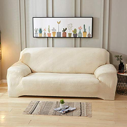 Allenger Sofa Cover Elastic,Thick Plush Sofa Covers Sofas Con Chaise Longue Sofa Towel Strech Slipcover-Light Beige_235-300cm_China