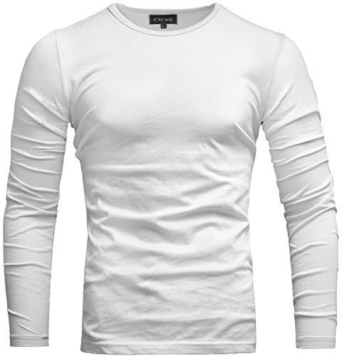 Crone Essential Basic Herren Slim Fit Langarm Rundhals Shirt Longsleeve T-Shirt Sweatshirt in vielen Farben (S, Weiß)