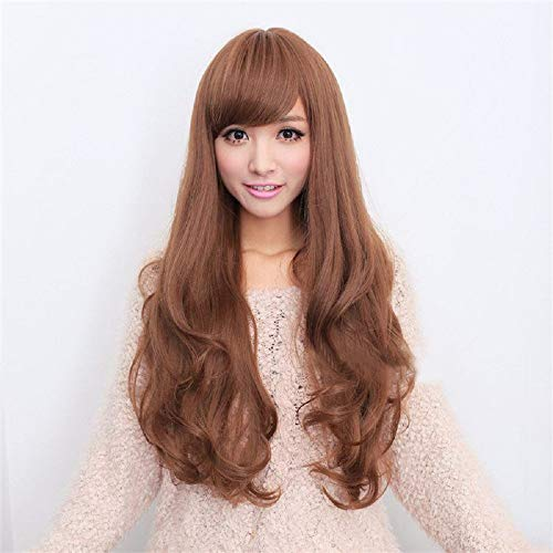 Bob shop Women's Long Hair Wig Long Wavy Cosplay Hair with Oblique Bangs(Brown)