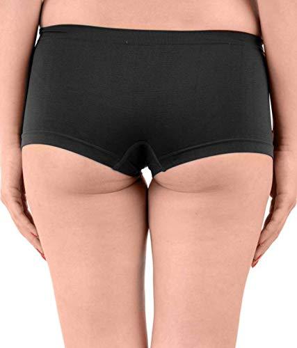 PLUMBURY® Women's Spandex Seamless Boyshort Panty,Free Size (Pack f 2) Black/Blue