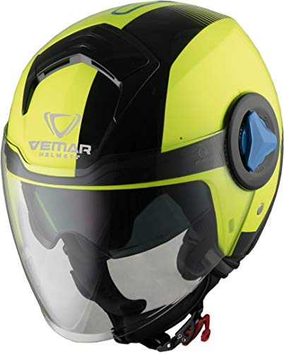 CASCO MOTO JET VISIERINO VEMAR BREEZE RADAR YELLOW FLUO BLACK TG M