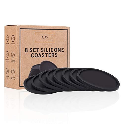 BIBO London™ - Set di 8 sottobicchieri Sottobicchieri resistenti al calore, proteggono tutte le superfici del tavolo, tra cui legno, vetro, marmo, pietra. -