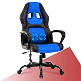 PC Gaming Chair Racing Office Chair w/Armrest Massage Lumbar Pillow,Video Game Chair Computer Chair Swivel Height Adjustable, PU Leather Desk Chair Ergonomic Chair Racing Chair for Men & Women