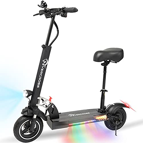 EVERCROSS Electric Scooter, Electric Scooter for Adults with 800W Motor, Up to 28MPH & 25 Miles, Scooter for Adults with Dual Braking System, Folding Electric Scooter Offroad with 10   Solid Tires