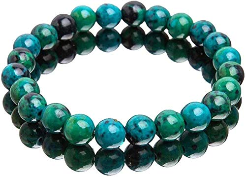 Chrysocolla Crystal Bracelet, Diabetes Relief Chrysocolla Bracelet, Handcrafted 8mm Natural Chrysocolla Crystal Energy Beaded Bracelets for Yoga Meditation Anxiety Relief (2 Pcs)