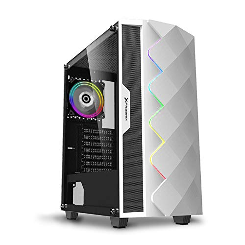 Phoenix Technologies - Torre Gaming RGB, Cristal Templado, Compatible con Placas ATX, Mini-ATX e ITX, Incluye Ventilador RGB, Filtros Anti-polvo y Tira Frontal RGB Sincronizada con Ventilador (Blanca)
