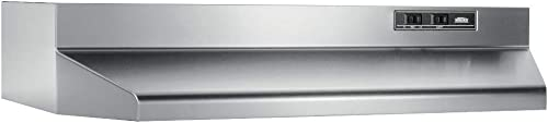 "Broan-NuTone 403004 Convertible Range Hood Insert with Light, Exhaust Fan for Under Cabinet, 30"", Stainless Steel, 6...."