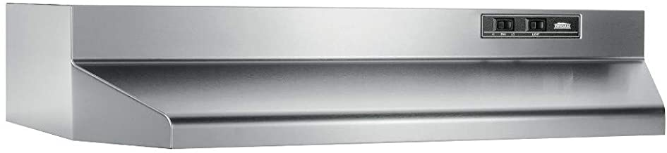 """Broan-NuTone 403004 Convertible Range Hood Insert with Light, Exhaust Fan for Under Cabinet, 30"""", Stainless Steel, 6.5 Sones, 160 CFM"""