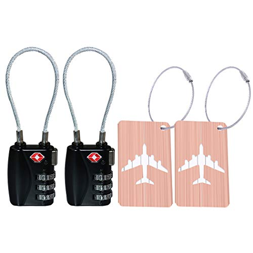 2 Pack TSA Luggage Lock and 2 Pack Aluminium Metal Luggage Tags, Mini Combination Password and Suitcase Card Holder Bag Tag Name Address ID Bag Label with Key Ring